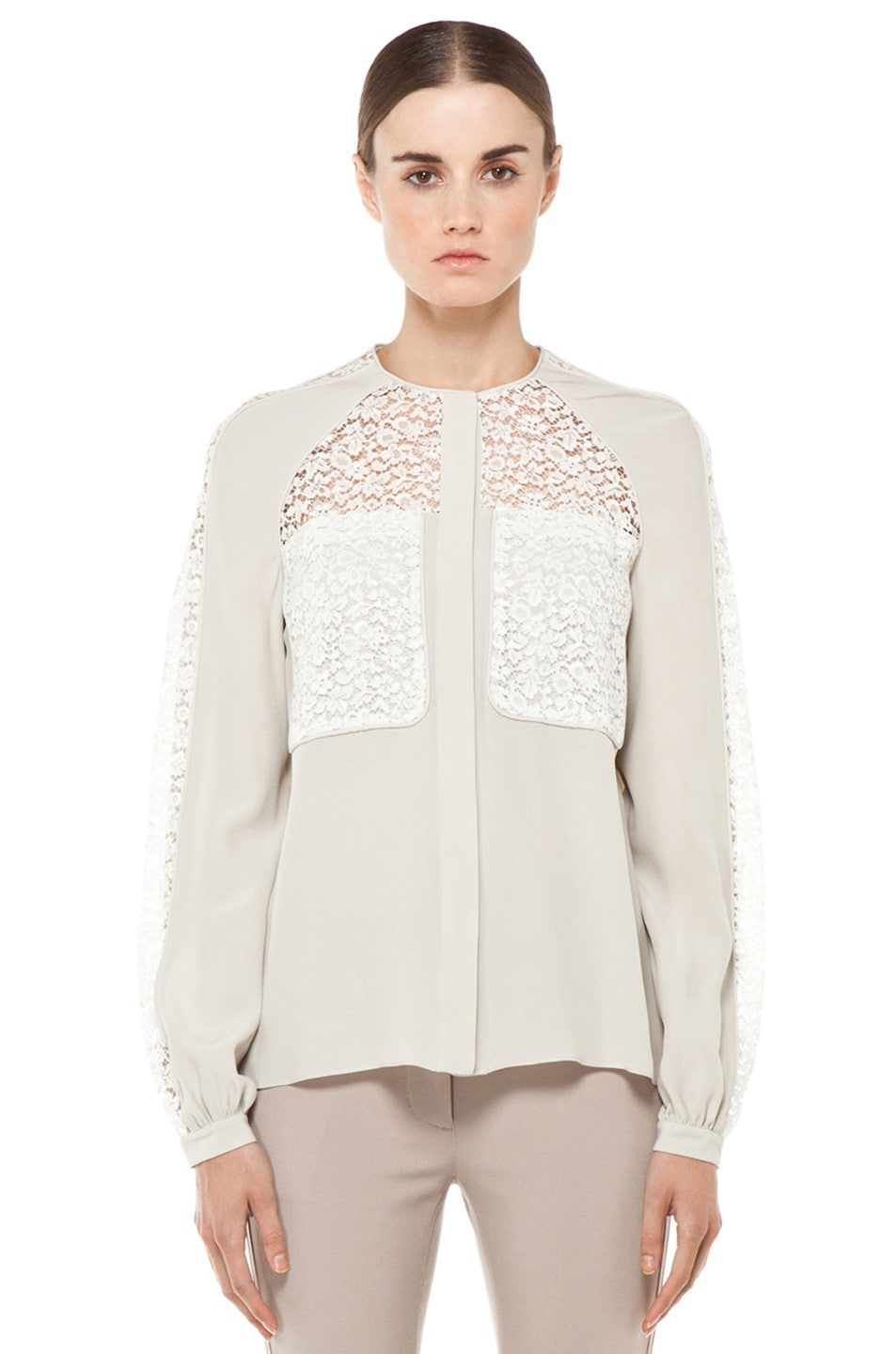 8fa42285c1d57e Image 1 of Chloe Vintage Lace Blouse in Ivory