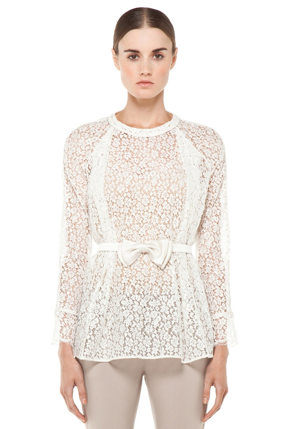Image 1 of Chloe Belted Blouse in White