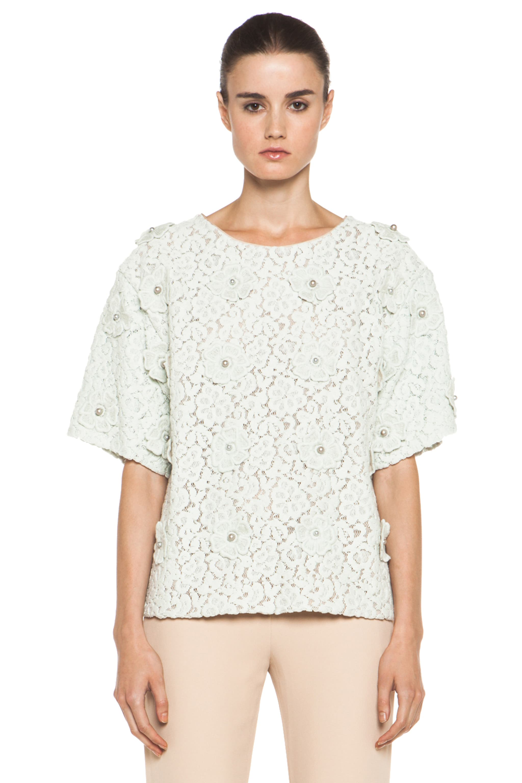 Image 1 of Chloe Lace Applique Top in Light Grey