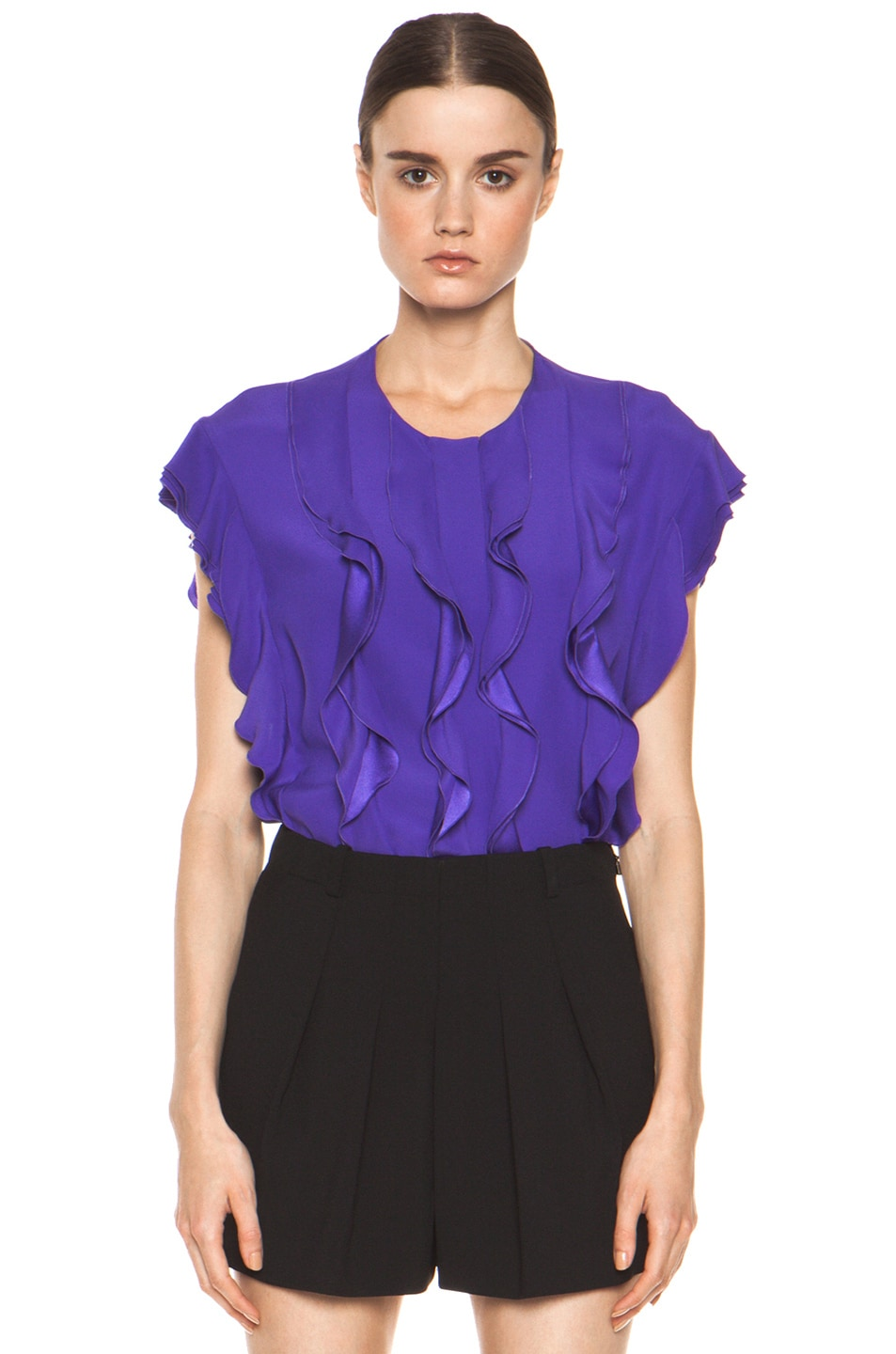 Image 1 of Chloe Silk Ruffle Blouse in Purple
