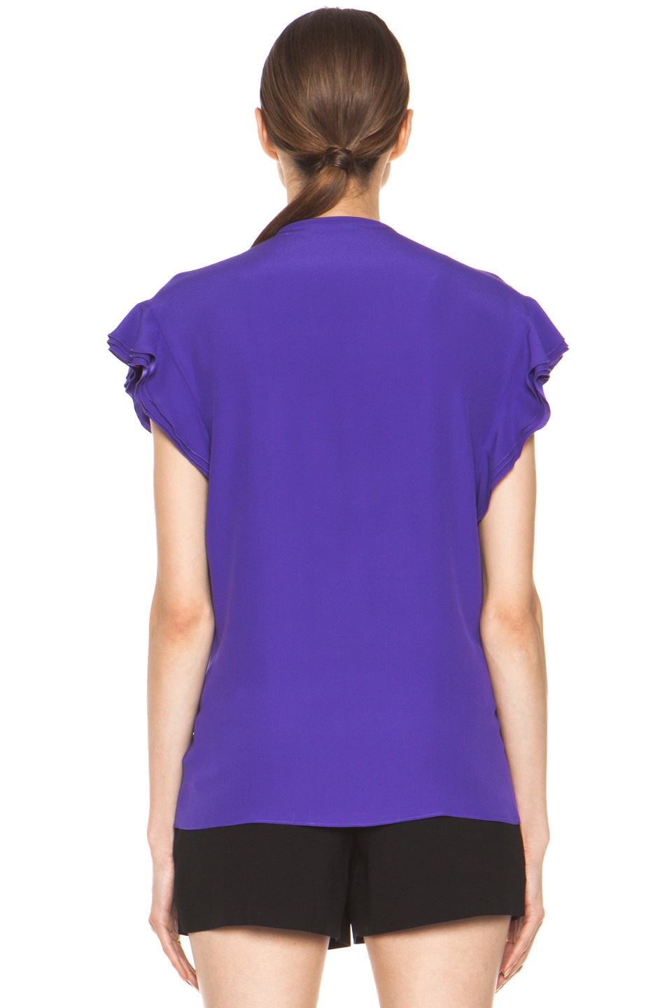 Image 5 of Chloe Silk Ruffle Blouse in Purple