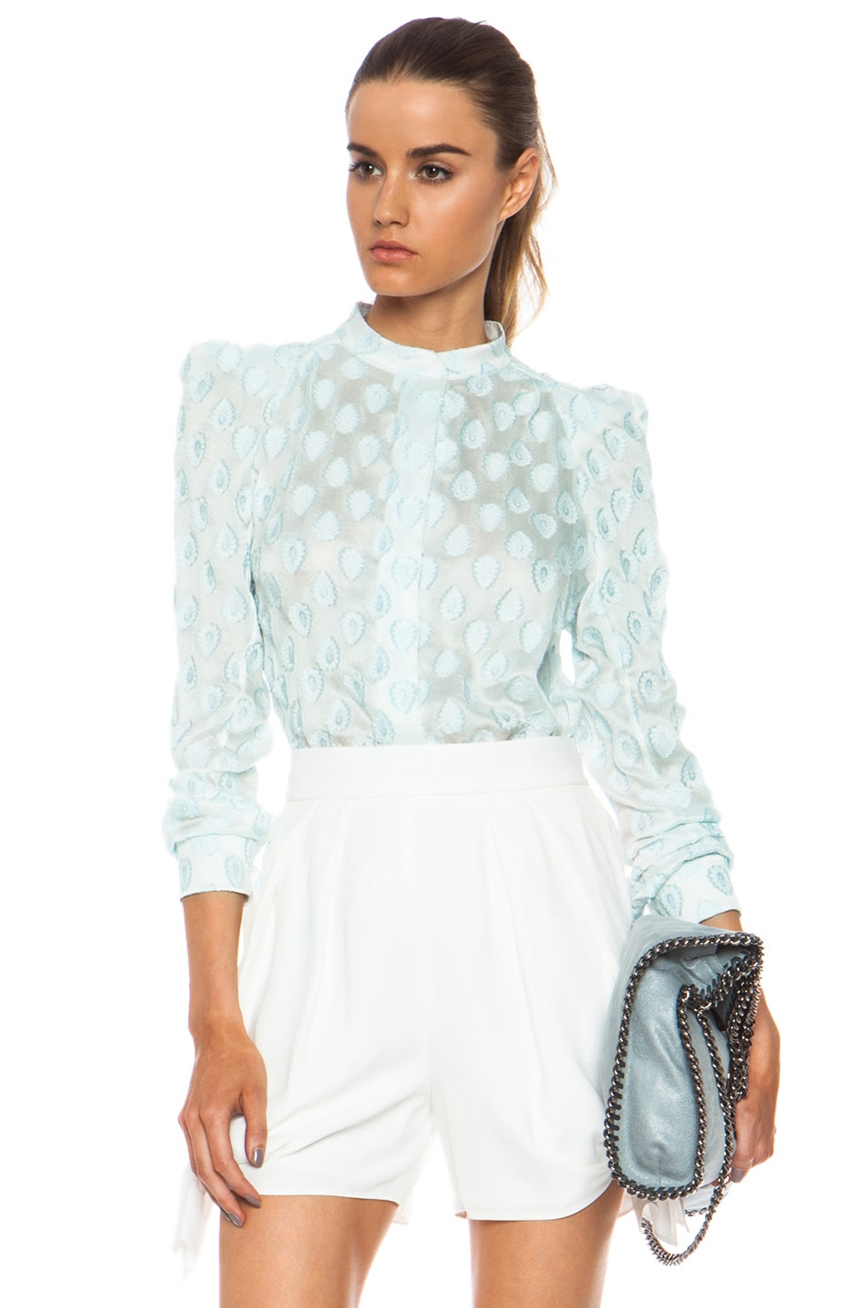 Image 1 of Chloe Medallion Jacquard Blouse in Ash Grey