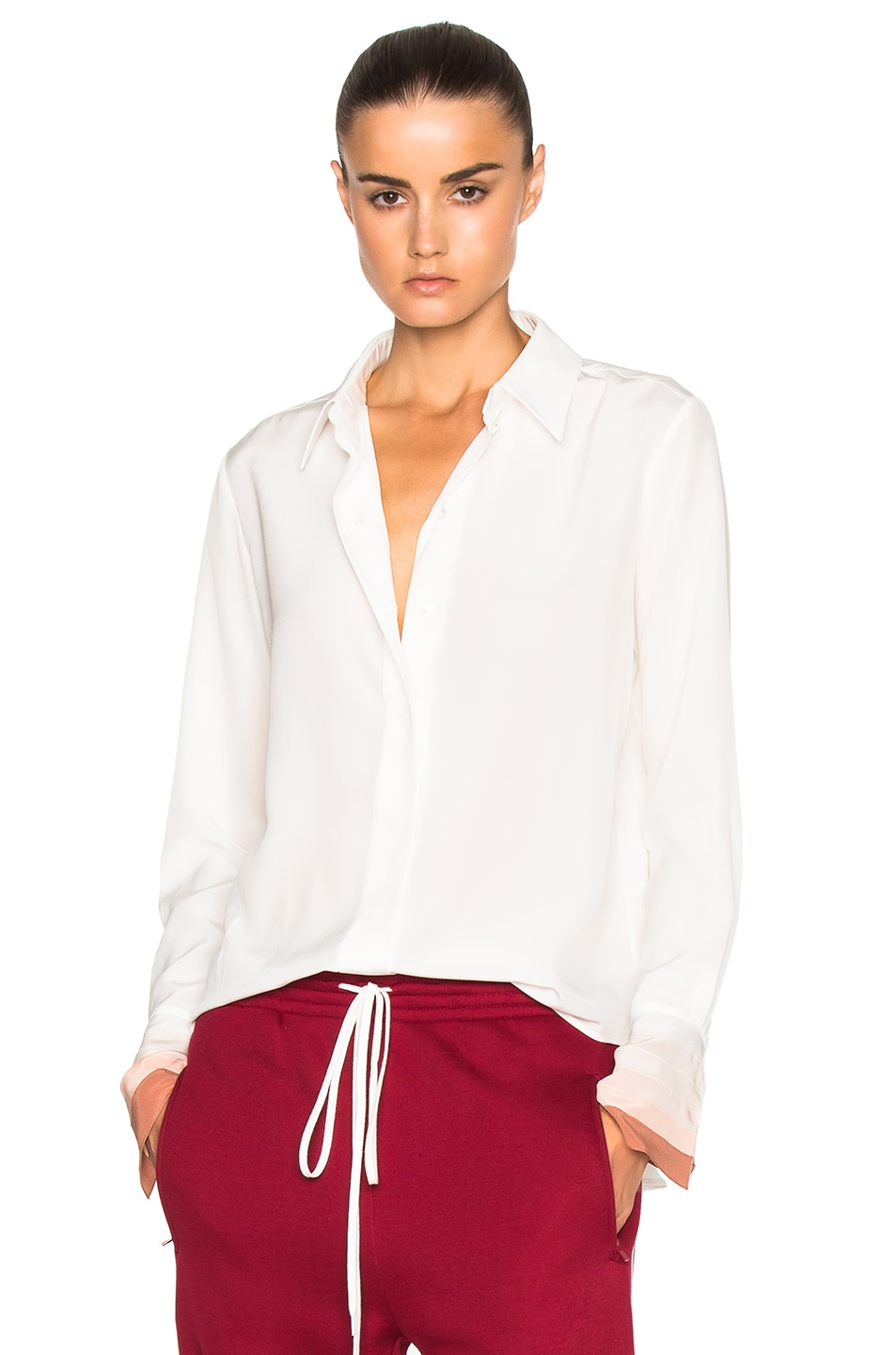 Image 1 of Chloe Crepe De Chine Button Up Blouse in Milk & Nude