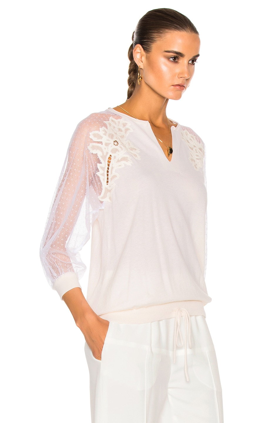 Image 3 of Chloe Embroidered Tulle Insert Blouse in Milk 4dd0888cd