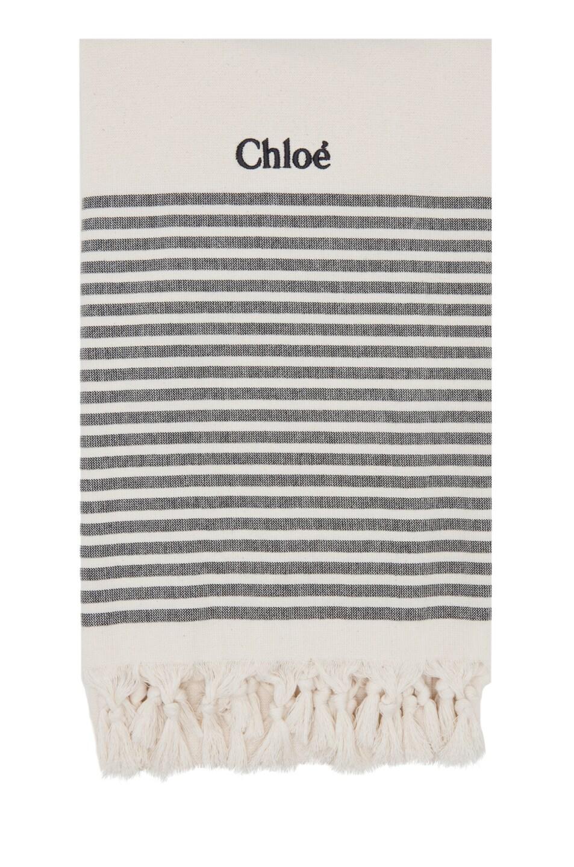 Image 1 of Chloe Flat Weave Beach Towel in Ivory