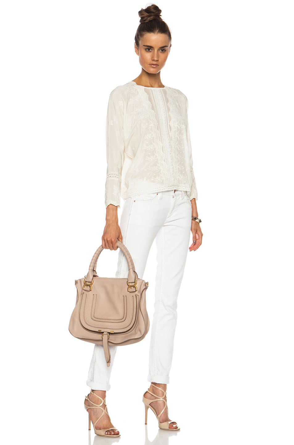 Image 6 of Chloe Medium Marcie Shoulder Bag in Rope Beige