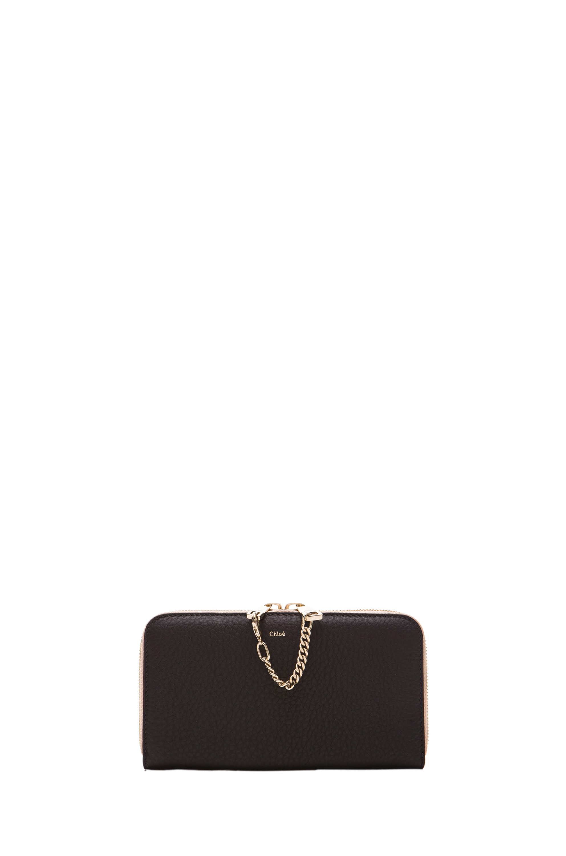 Image 1 of Chloe Long Zipped Wallet in Black