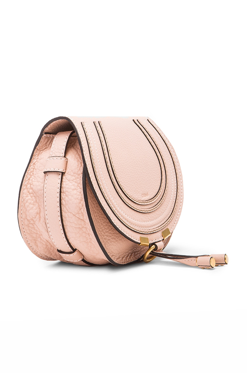Image 4 of Chloe Small Marcie Grained Calfskin Saddle Bag in Blush Nude
