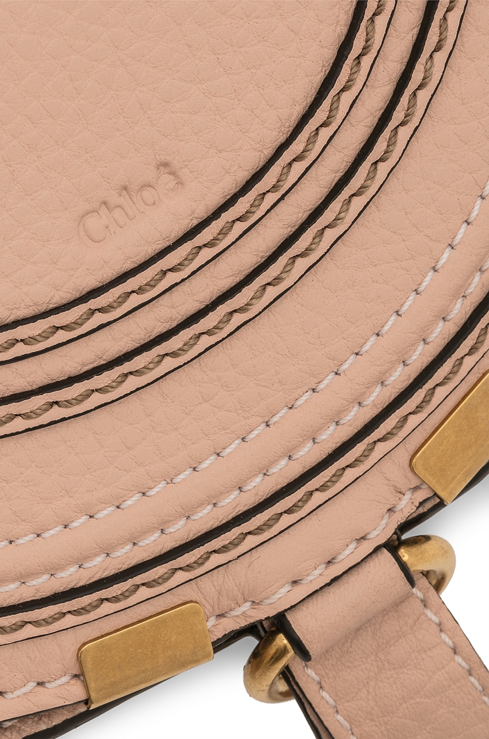 Image 8 of Chloe Small Marcie Grained Calfskin Saddle Bag in Blush Nude