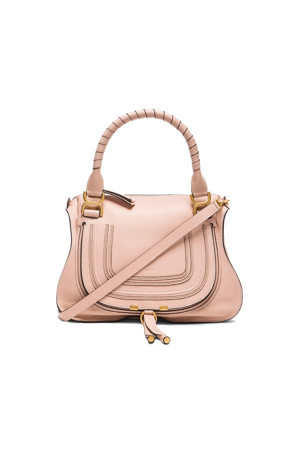 135765827 Image 1 of Chloe Small Marcie Grained Leather Satchel in Blush Nude