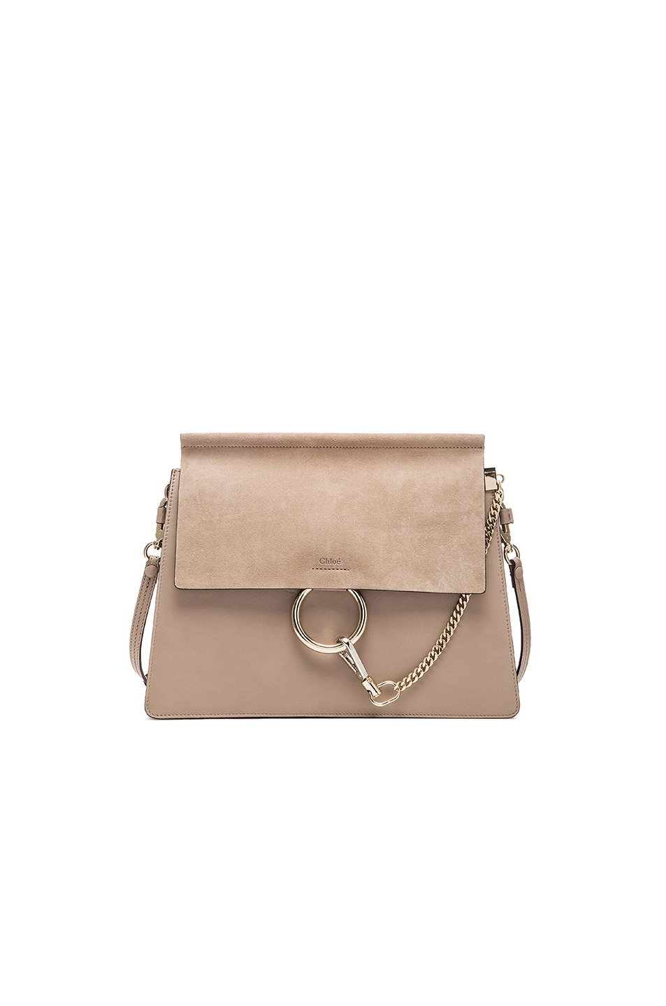 Image 1 of Chloe Medium Faye Suede & Calfskin Shoulder Bag in Motty Grey