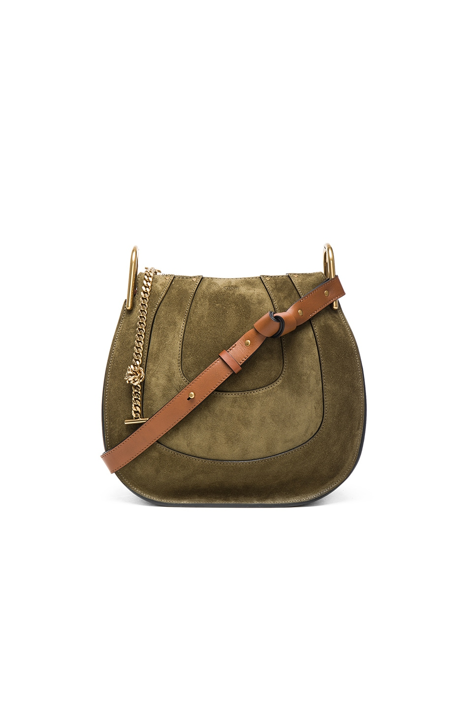 Image 1 of Chloe Small Hayley Leather & Suede Hobo in Eucalyptus