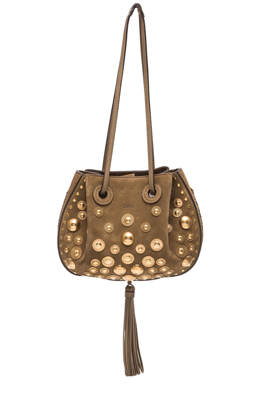 Image 1 of Chloe Small Studded Inez Suede Bag in Merino Grey