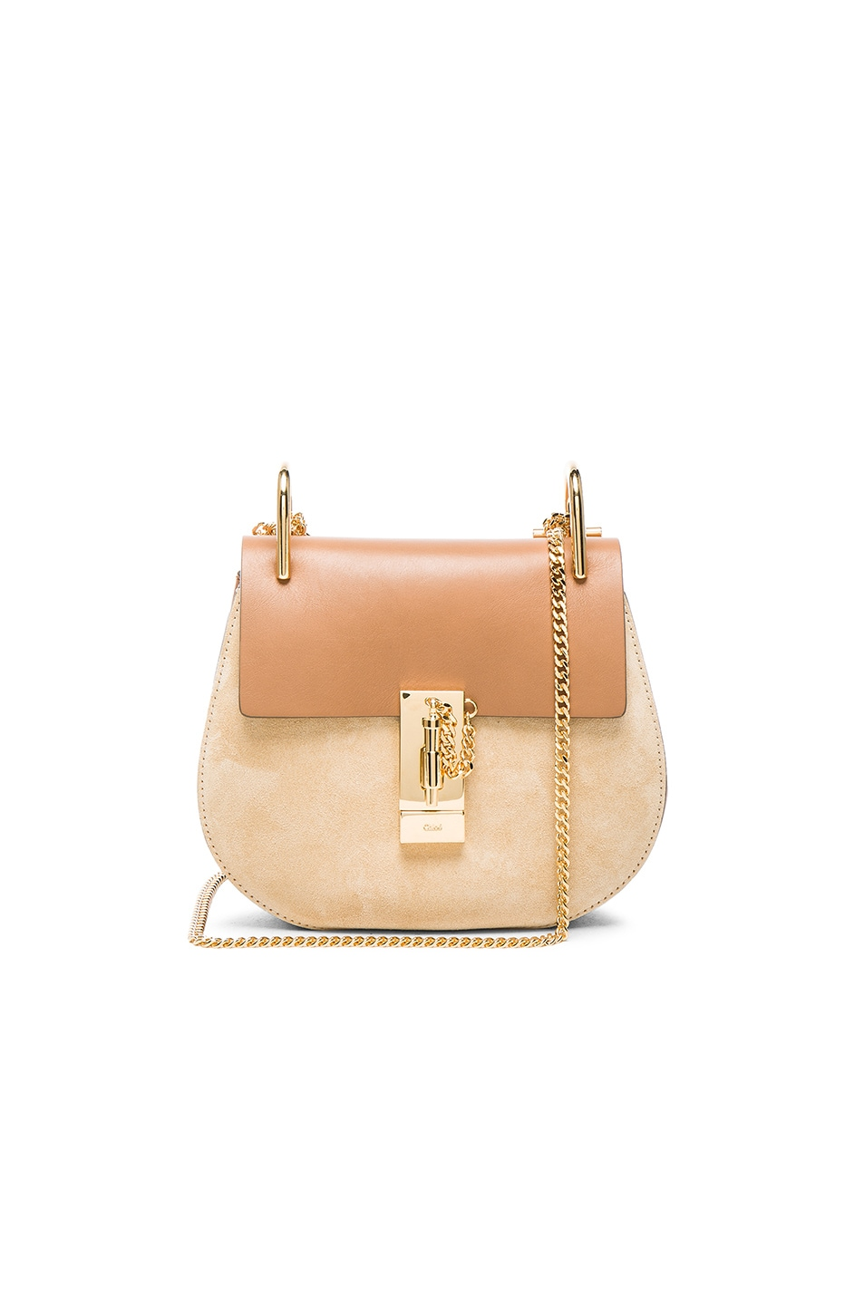 Image 1 of Chloe Mini Drew Leather & Suede Bag in Milky Coffee