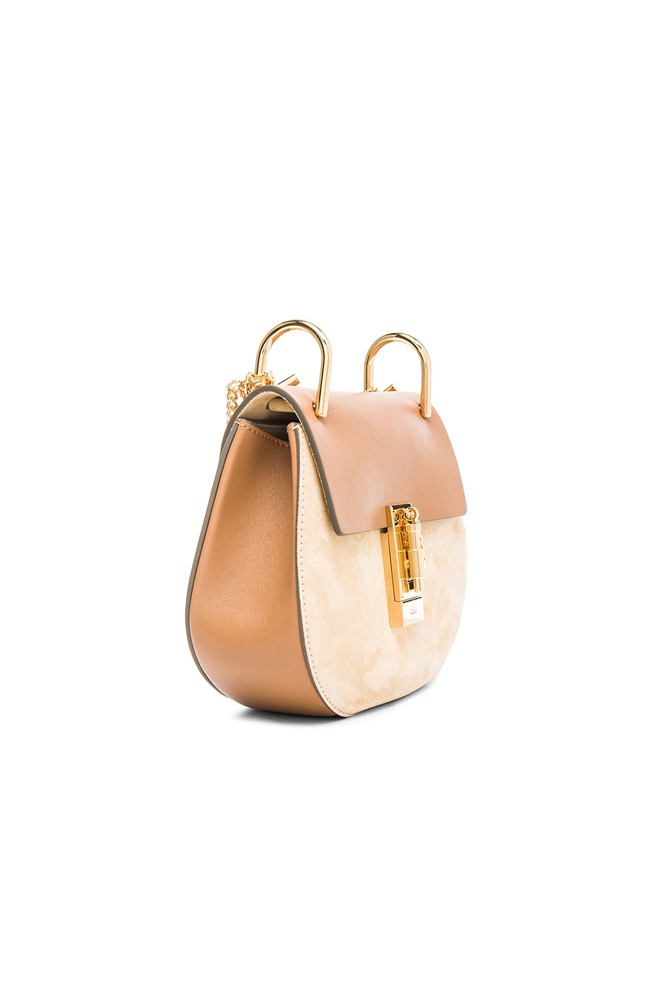 Image 4 of Chloe Mini Drew Leather & Suede Bag in Milky Coffee