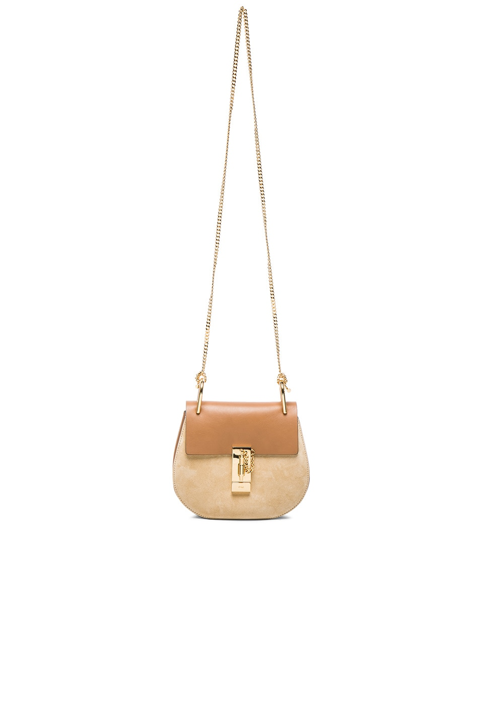 Image 6 of Chloe Mini Drew Leather & Suede Bag in Milky Coffee