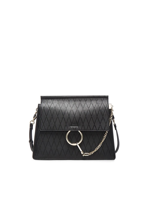 Image 1 of Chloe Medium Diamond Embossed Faye Bag in Black