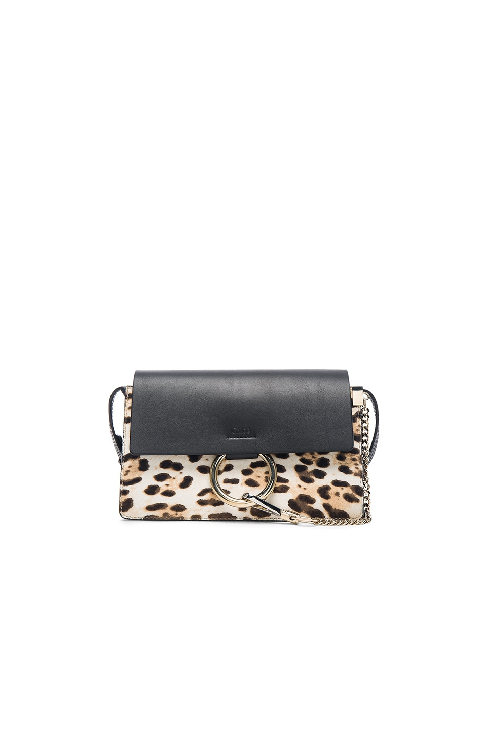 Image 1 of Chloe Small Leopard Print Faye Bag in Abstract White