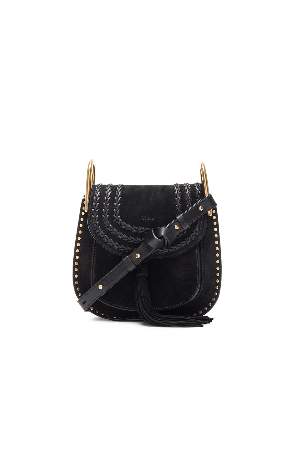 Image 1 of Chloe Small Suede Hudson Bag in Black