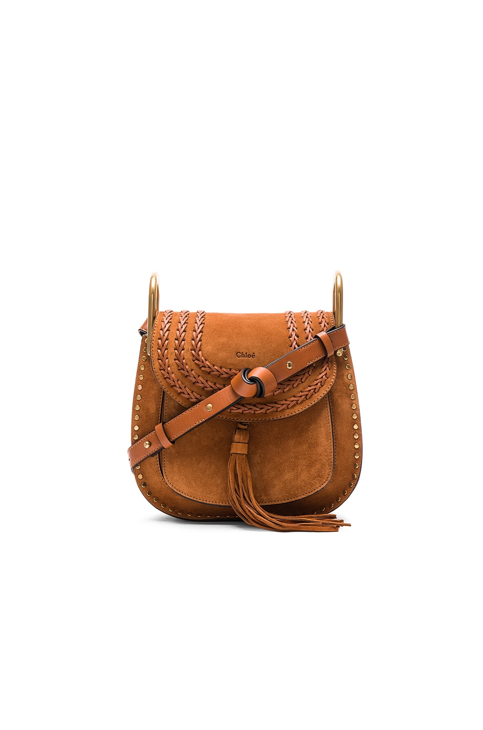 Image 1 of Chloe Small Suede Hudson Bag in Caramel