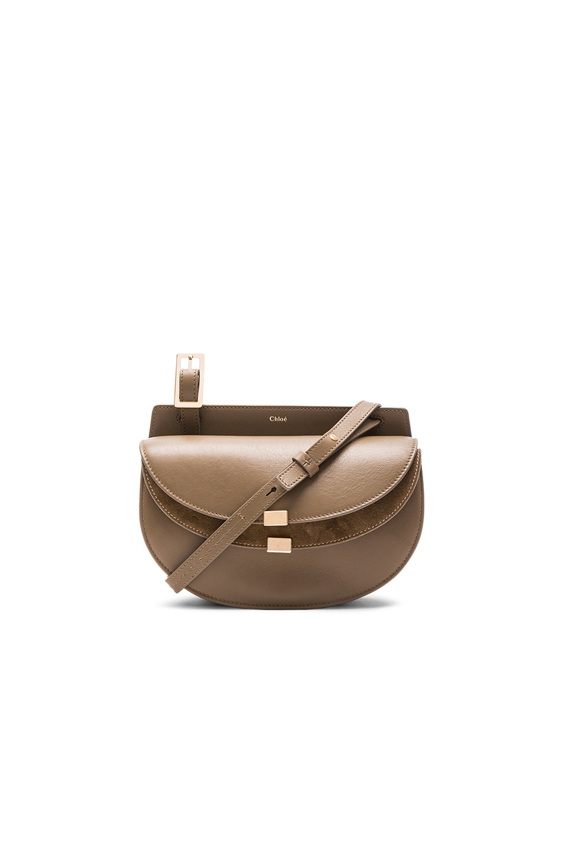 Image 1 of Chloe Mini Calfskin & Suede Georgia Bag in Merino Grey