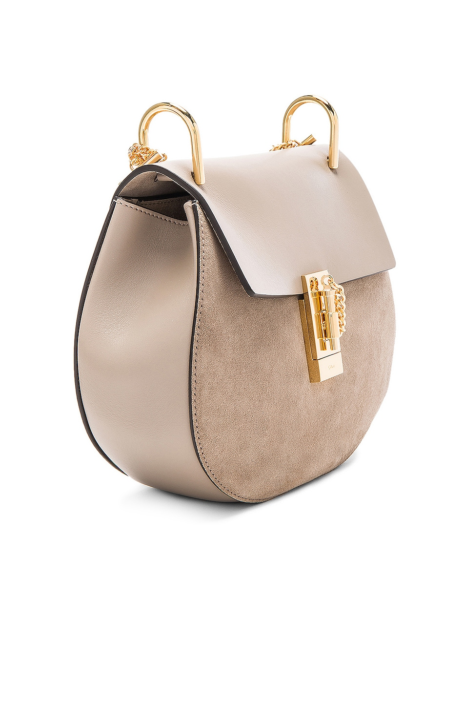 Image 4 of Chloe Small Drew Suede & Calfskin Shoulder Bag in Motty Grey