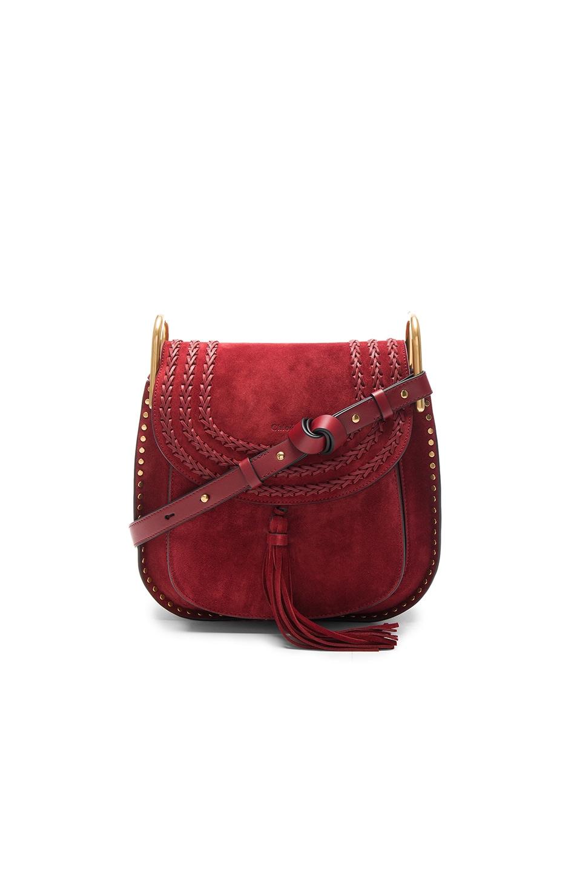 Image 1 of Chloe Medium Suede Hudson Bag in Sienna Red