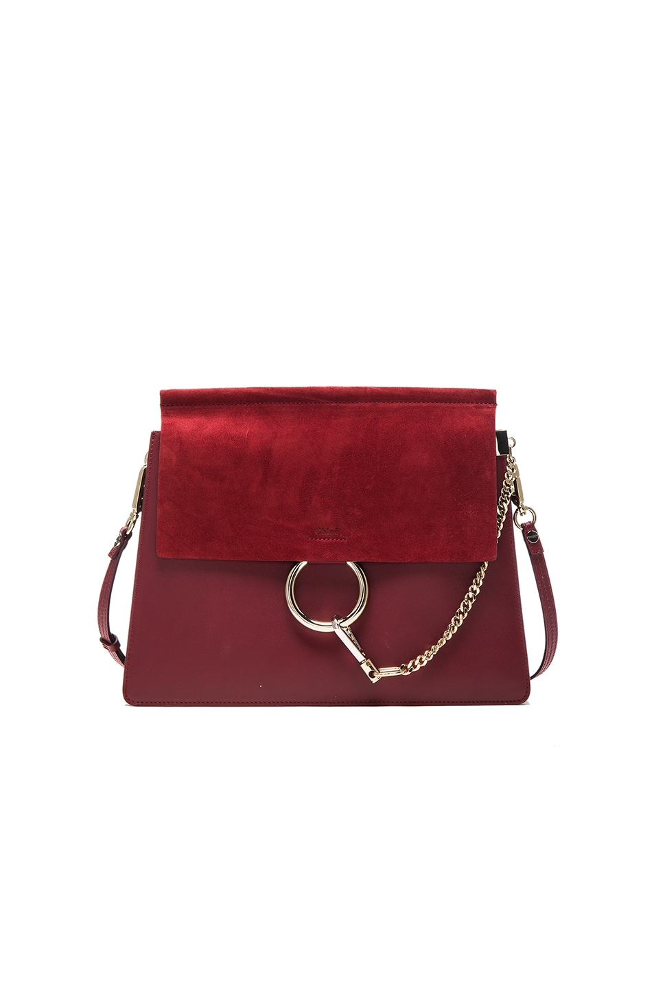 Image 1 of Chloe Medium Faye Suede & Calfskin Bag in Plum Purple