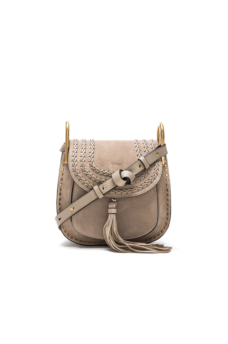 Image 1 of Chloe Small Suede Hudson Bag in Motty Grey