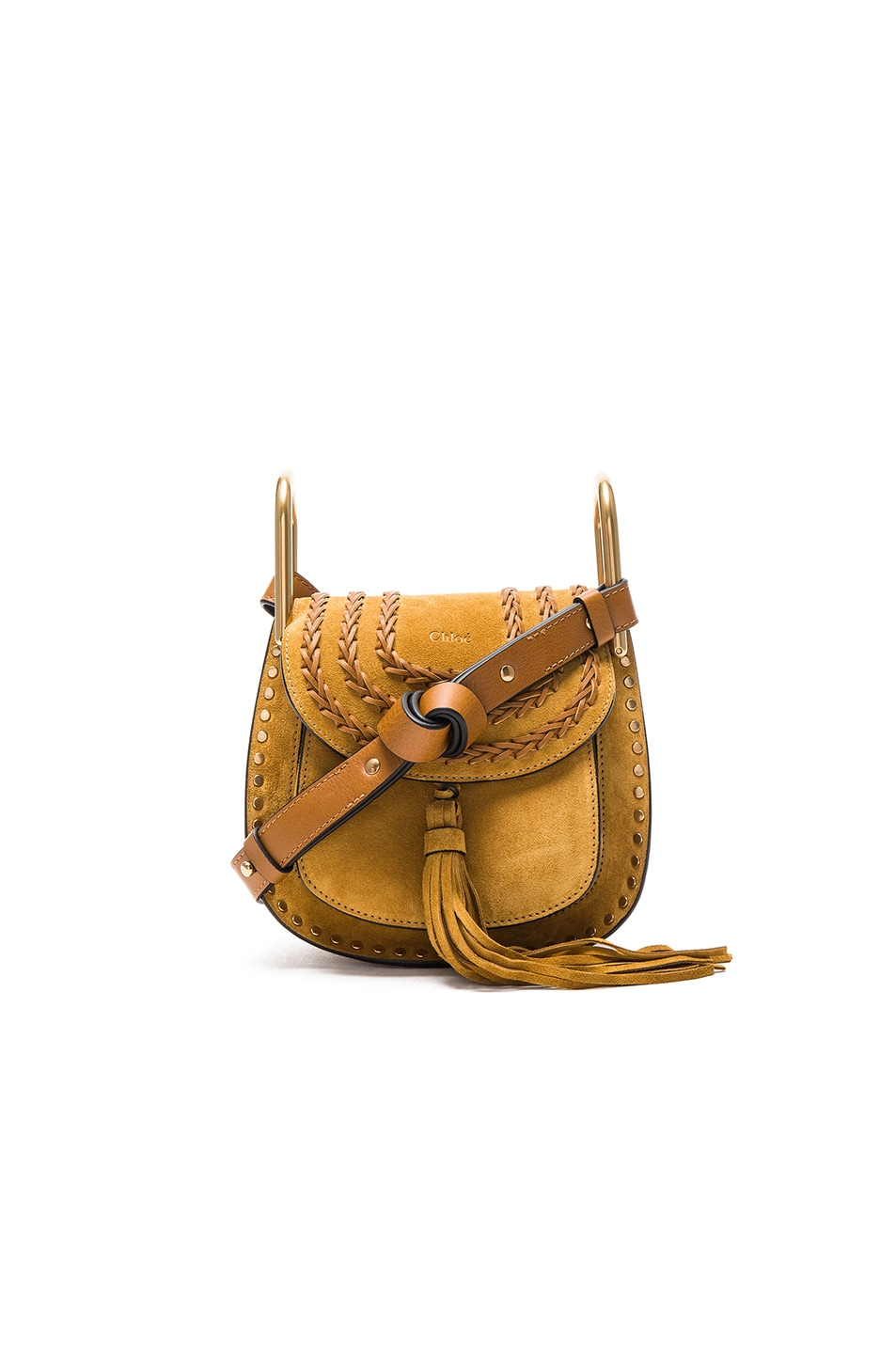 Image 1 of Chloe Mini Suede Hudson in Mustard Brown