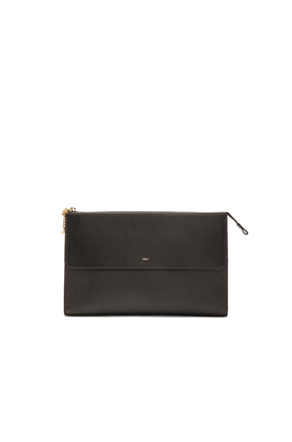Image 1 of Chloe Grained Leather Flat Pouch in Black