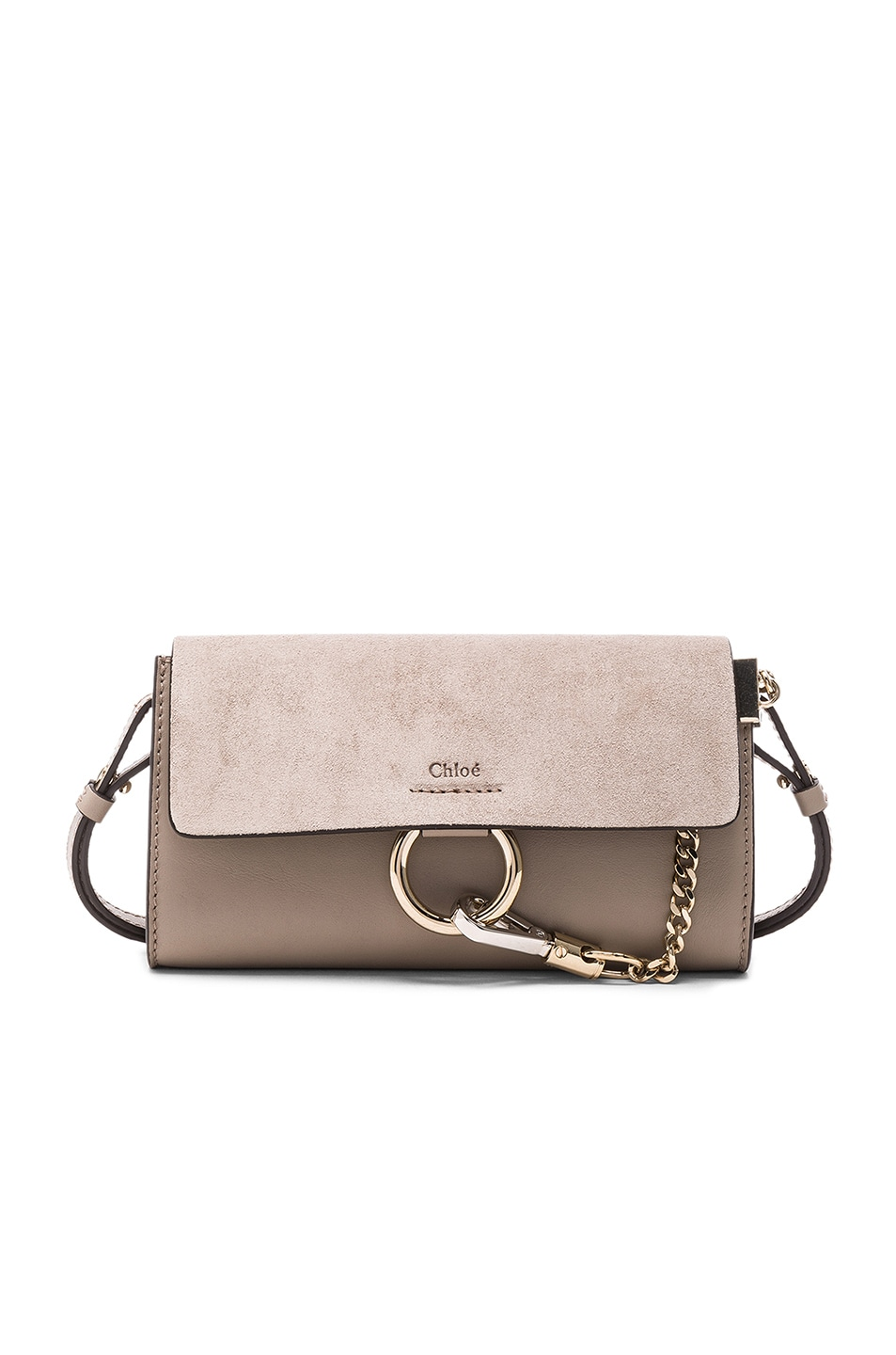 5ef046c76c472 Image 1 of Chloe Leather Faye Suede   Calfskin Strap Wallet in Motty Grey