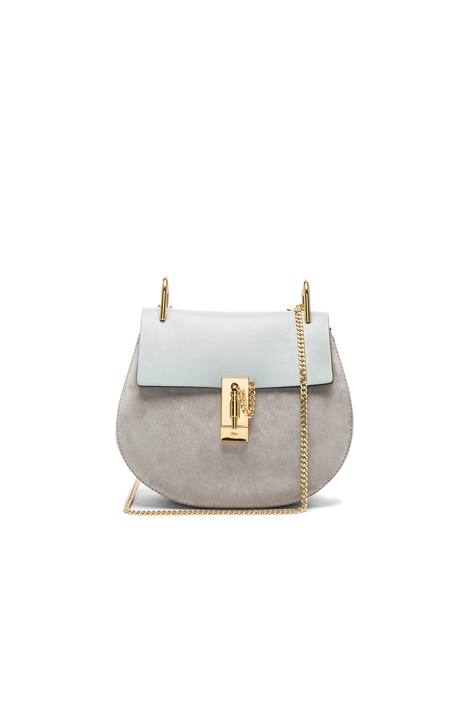 Image 1 of Chloe Small Suede Drew Bag in Fresh Blue