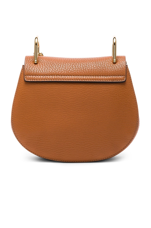 Image 3 of Chloe Mini Grained Leather Drew Bag in Caramel