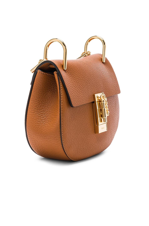 Image 4 of Chloe Mini Grained Leather Drew Bag in Caramel