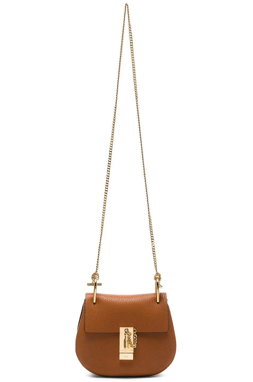Image 6 of Chloe Mini Grained Leather Drew Bag in Caramel
