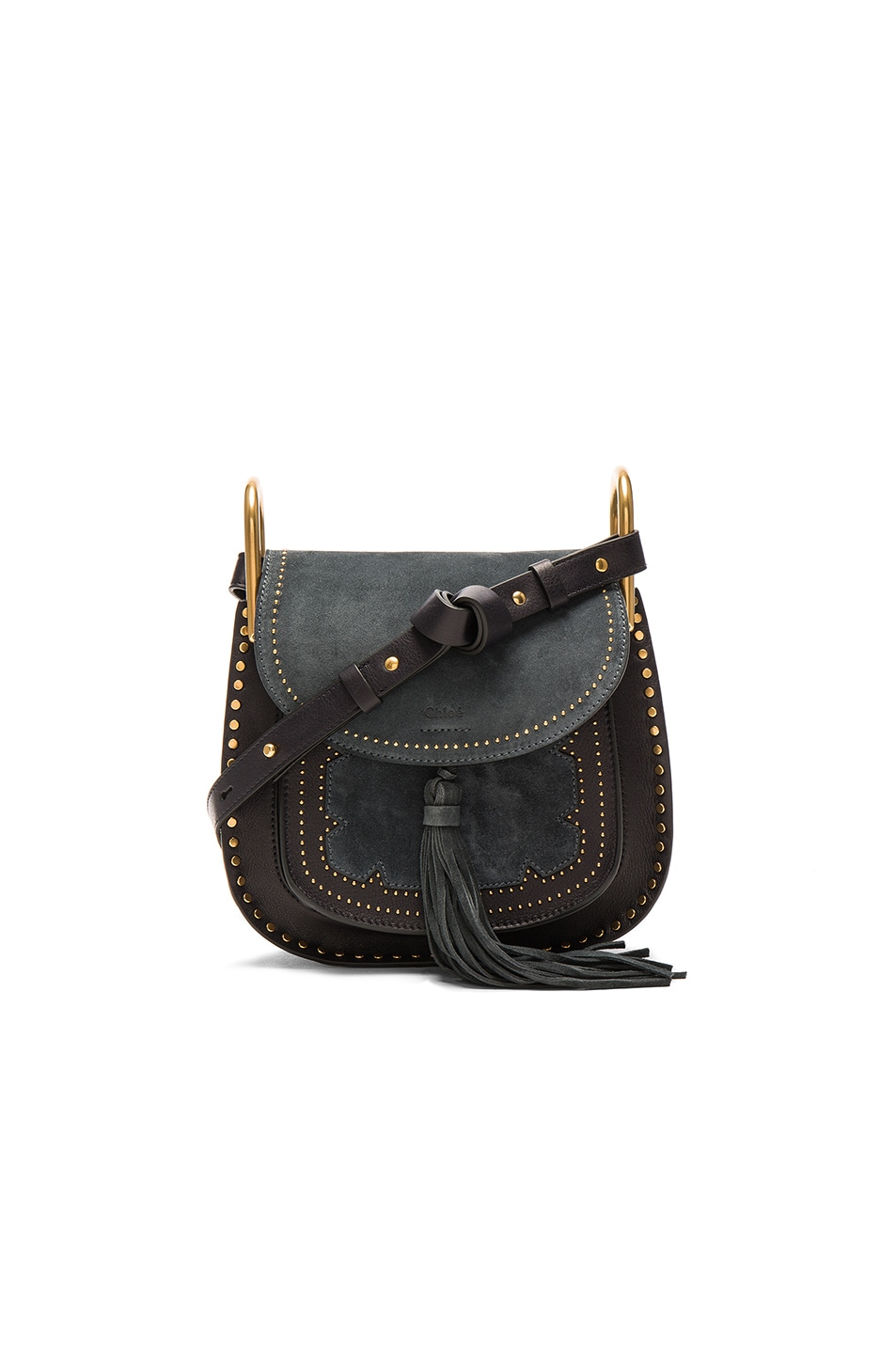 Image 1 of Chloe Small Suede Patchwork Hudson Bag in Full Blue