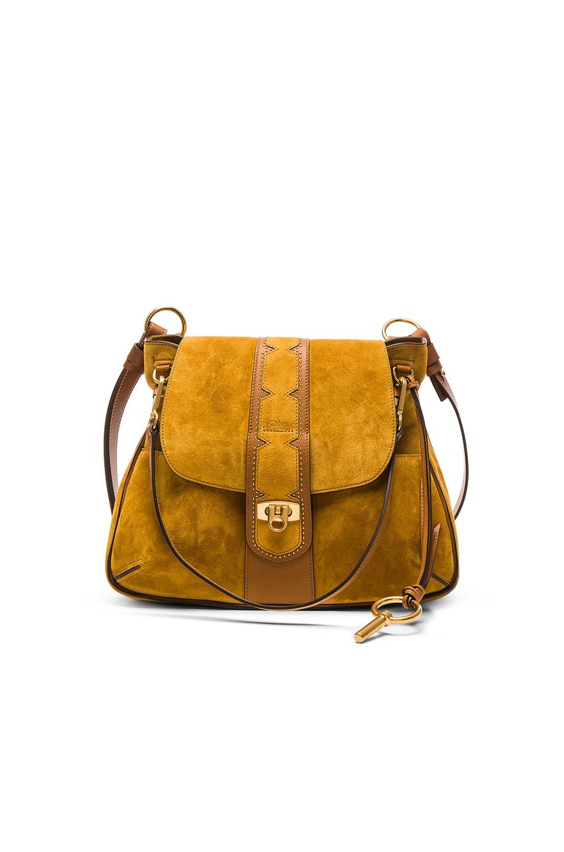 Image 1 of Chloe Medium Stud Suede Lexa Bag in Mustard Brown