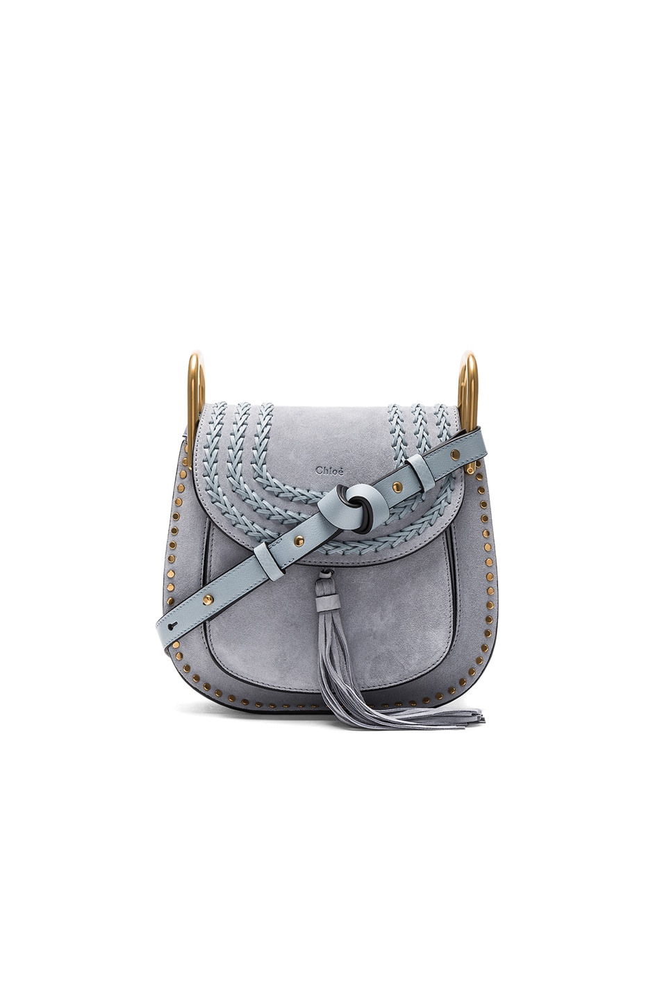 Image 1 of Chloe Small Suede Hudson Shoulder Bag in Fresh Blue