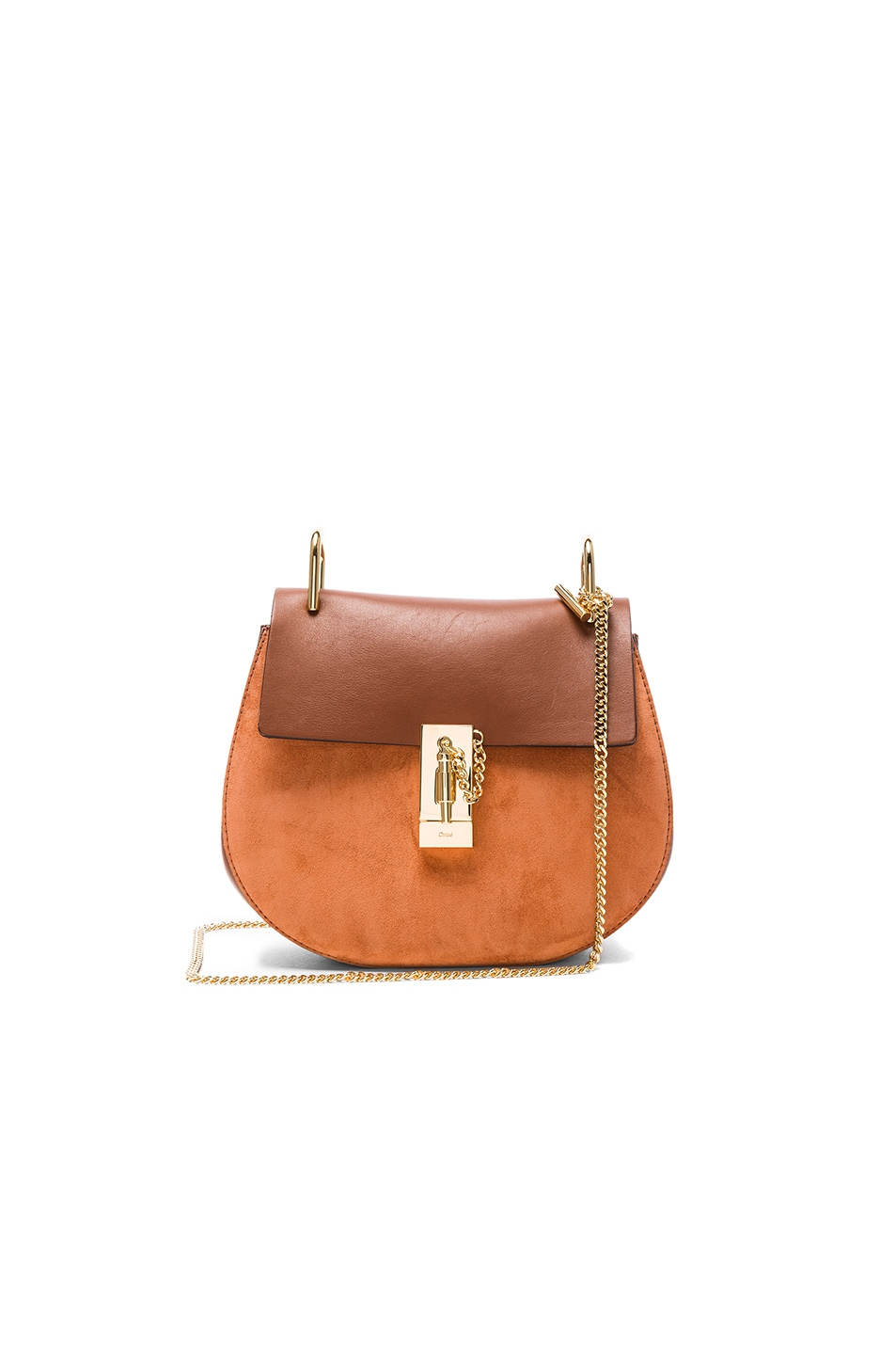Image 1 of Chloe Small Suede & Calfskin Drew Shoulder Bag in Classic Tobacco