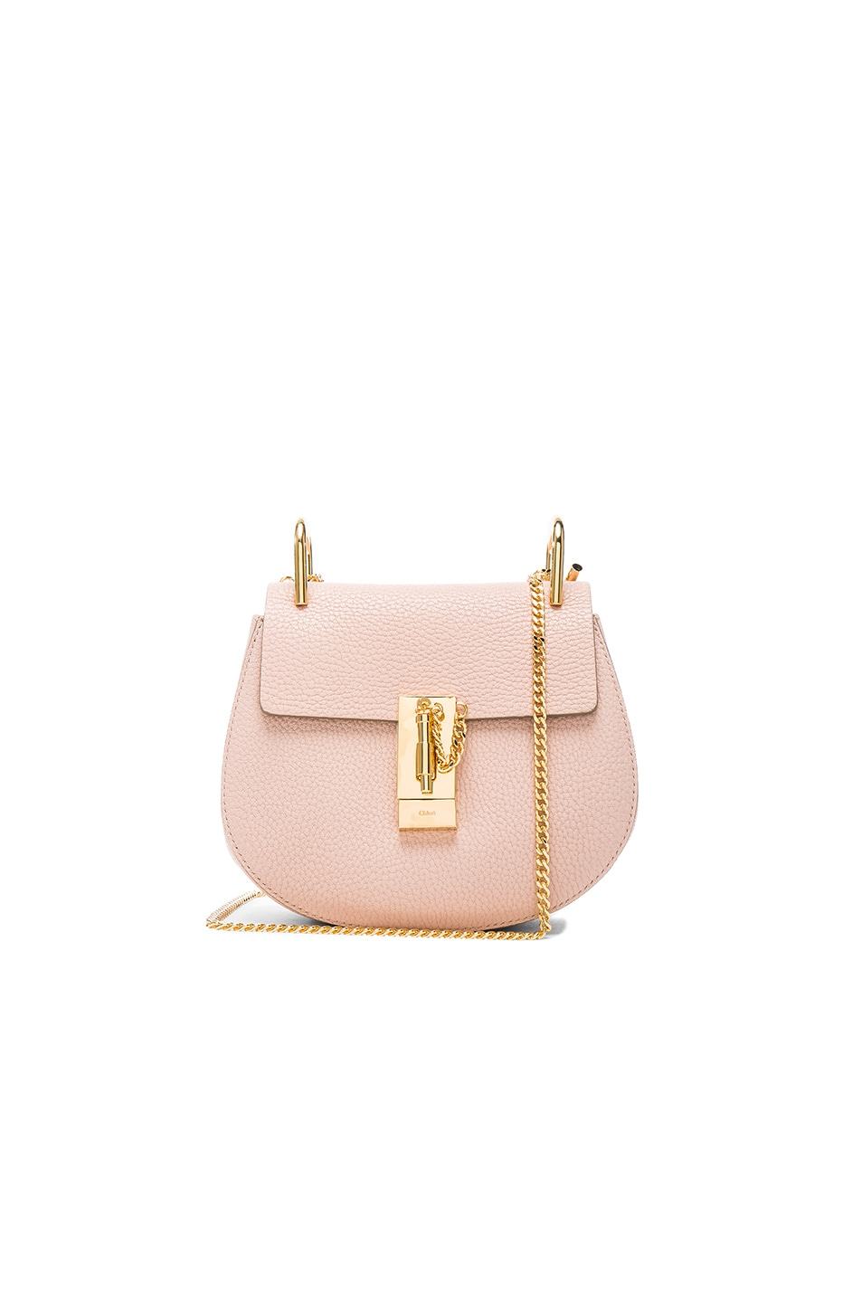 09753cf2a4ba4 Image 1 of Chloe Mini Drew Leather Shoulder Bag in Cement Pink