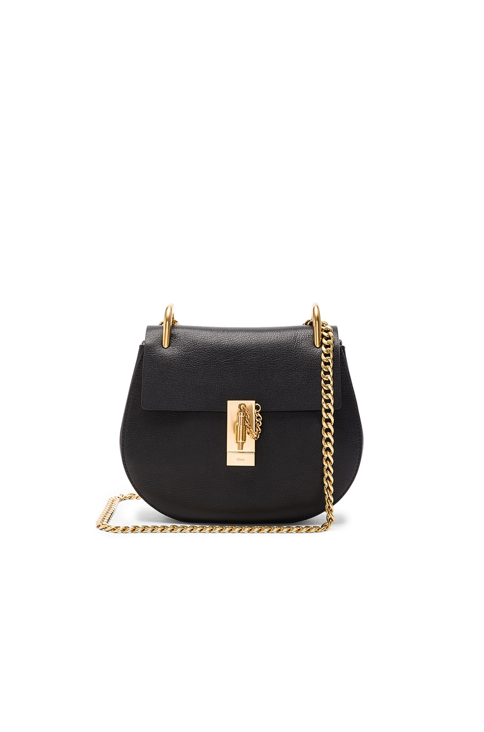 Image 1 of Chloe Goatskin & Calfskin Drew Shoulder Bag in Black