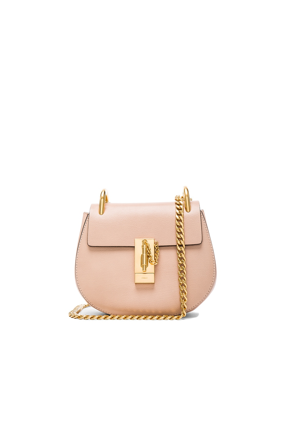 Image 1 of Chloe Mini Leather Drew Shoulder Bag in Biscotti Beige