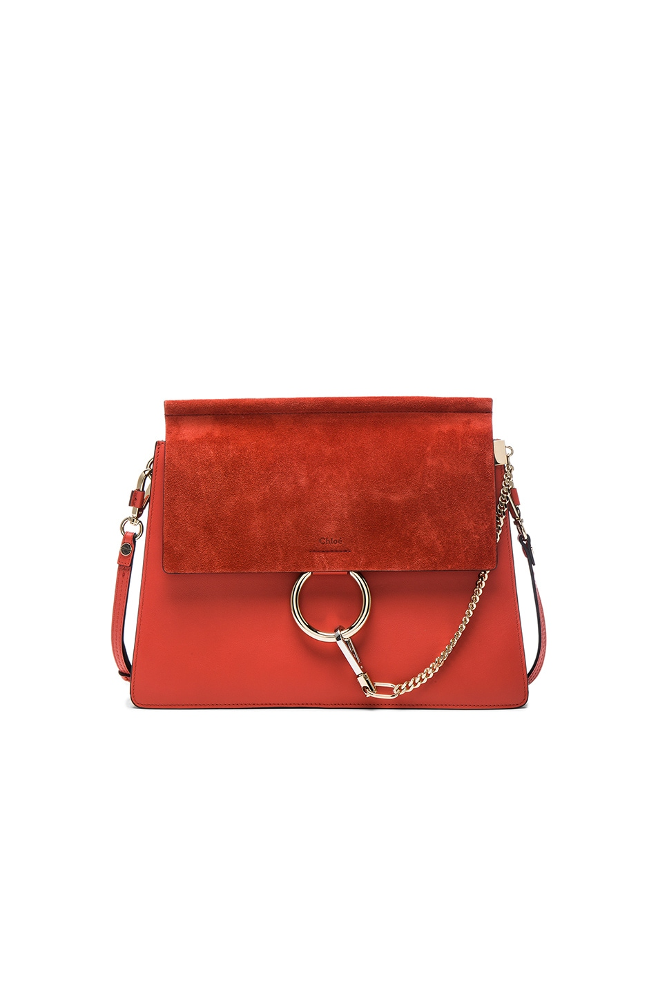 Image 1 of Chloe Medium Leather Faye Shoulder Bag in Sepia Red