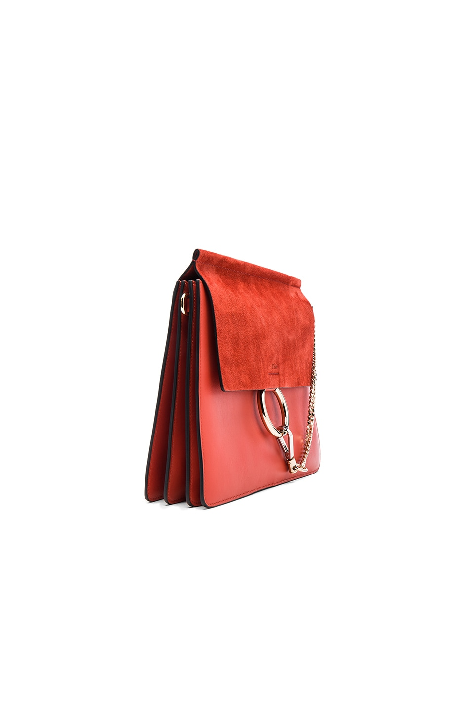 Image 3 of Chloe Medium Leather Faye Shoulder Bag in Sepia Red