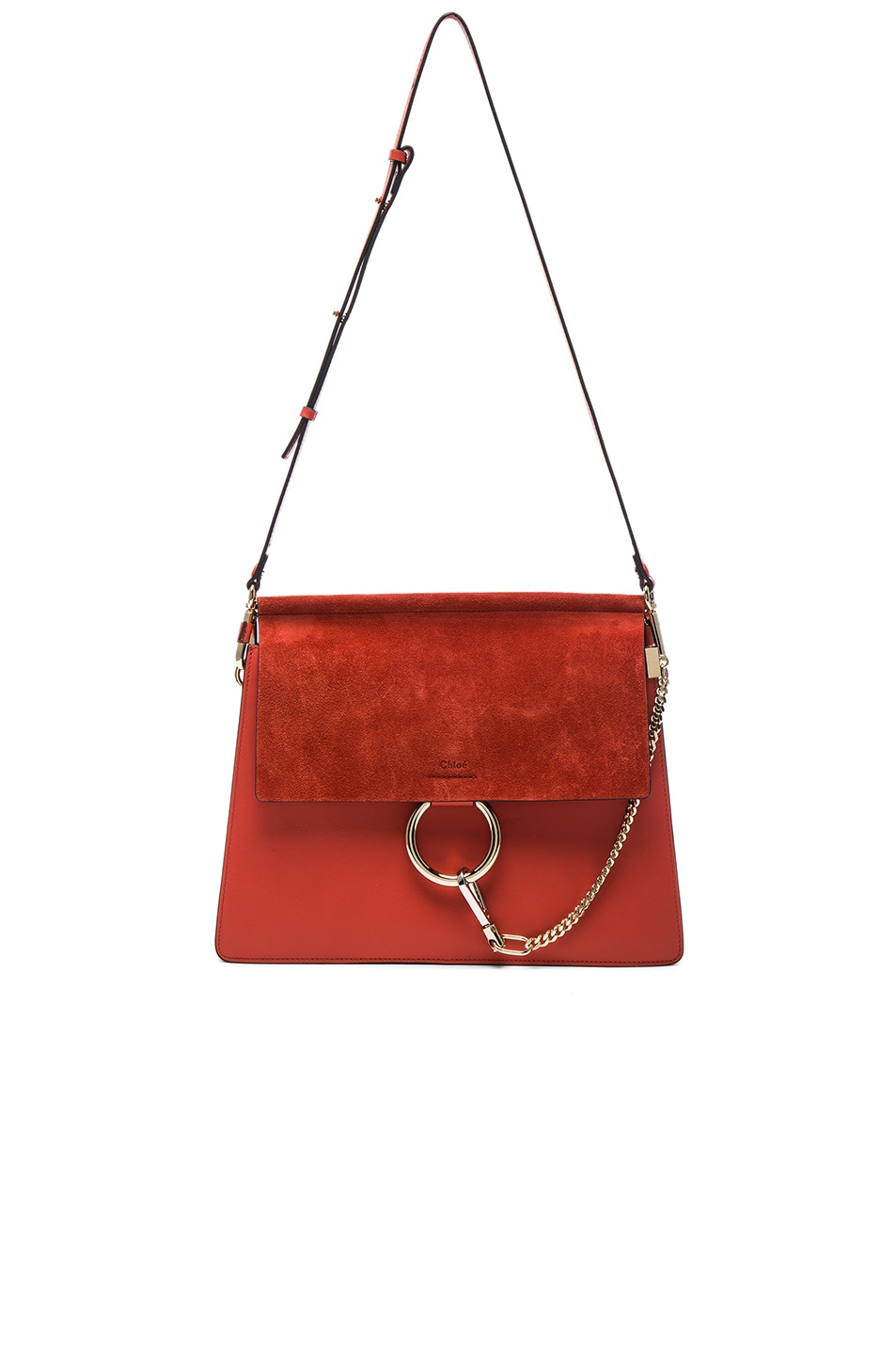 Image 5 of Chloe Medium Leather Faye Shoulder Bag in Sepia Red