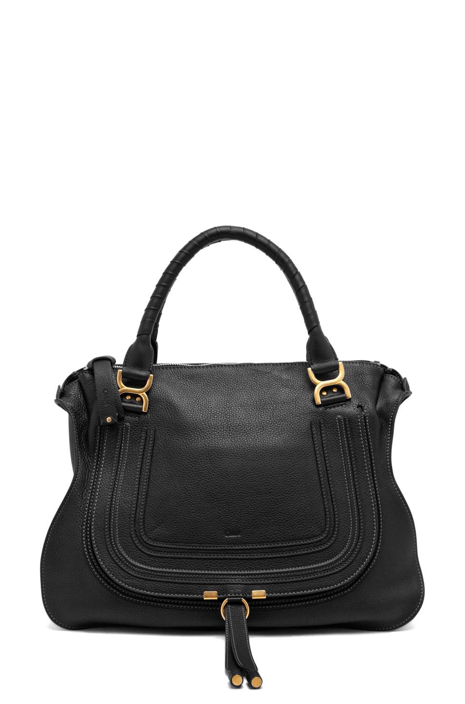 Image 1 of Chloe Large Marcie Shoulder Bag in Black