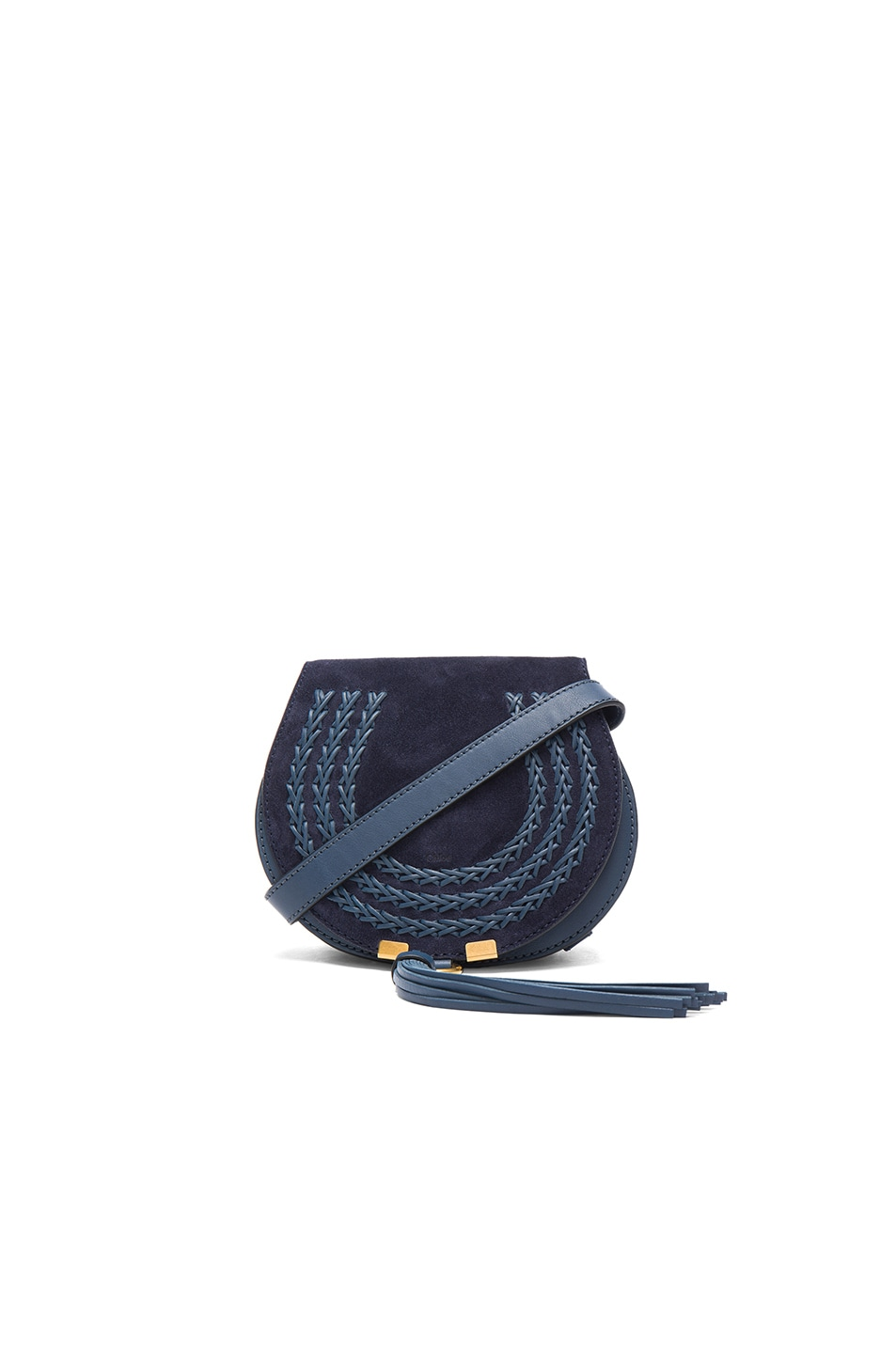 Image 1 of Chloe Small Marcie Suede & Leather Satchel in Navy