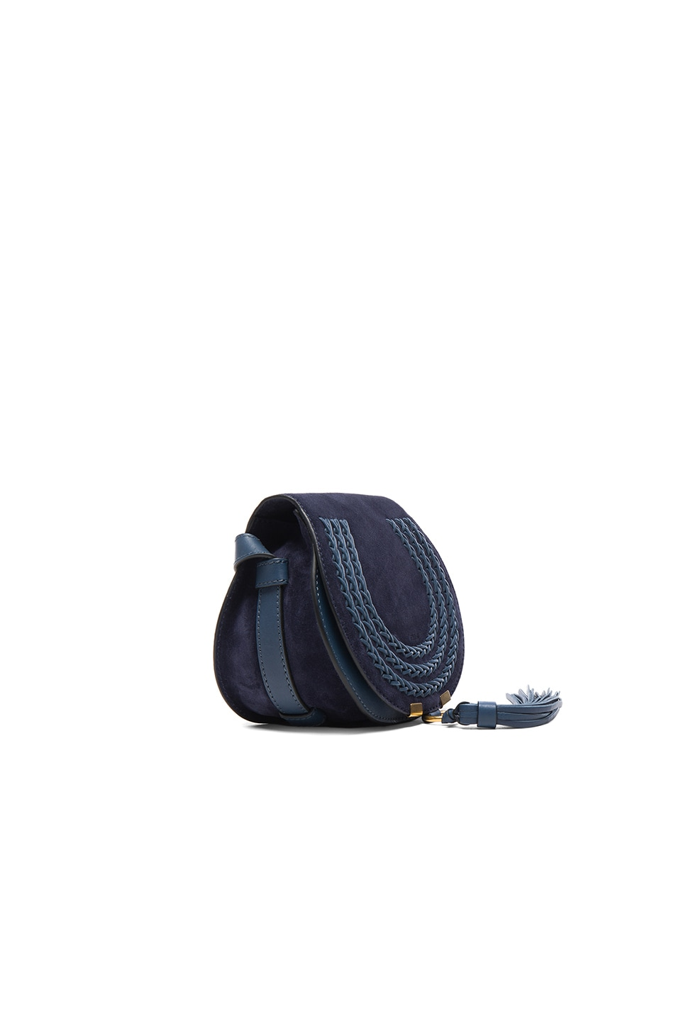 Image 3 of Chloe Small Marcie Suede & Leather Satchel in Navy