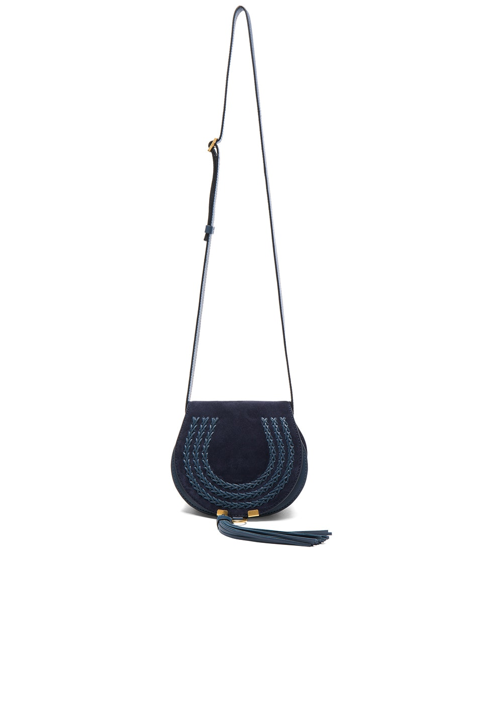 Image 5 of Chloe Small Marcie Suede & Leather Satchel in Navy
